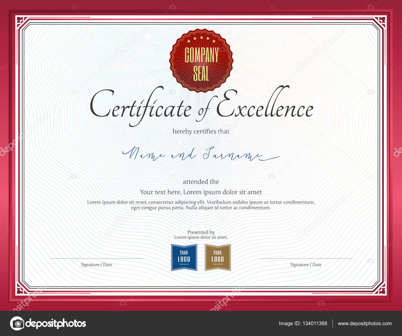 certificate of excellence template with red border stock vector