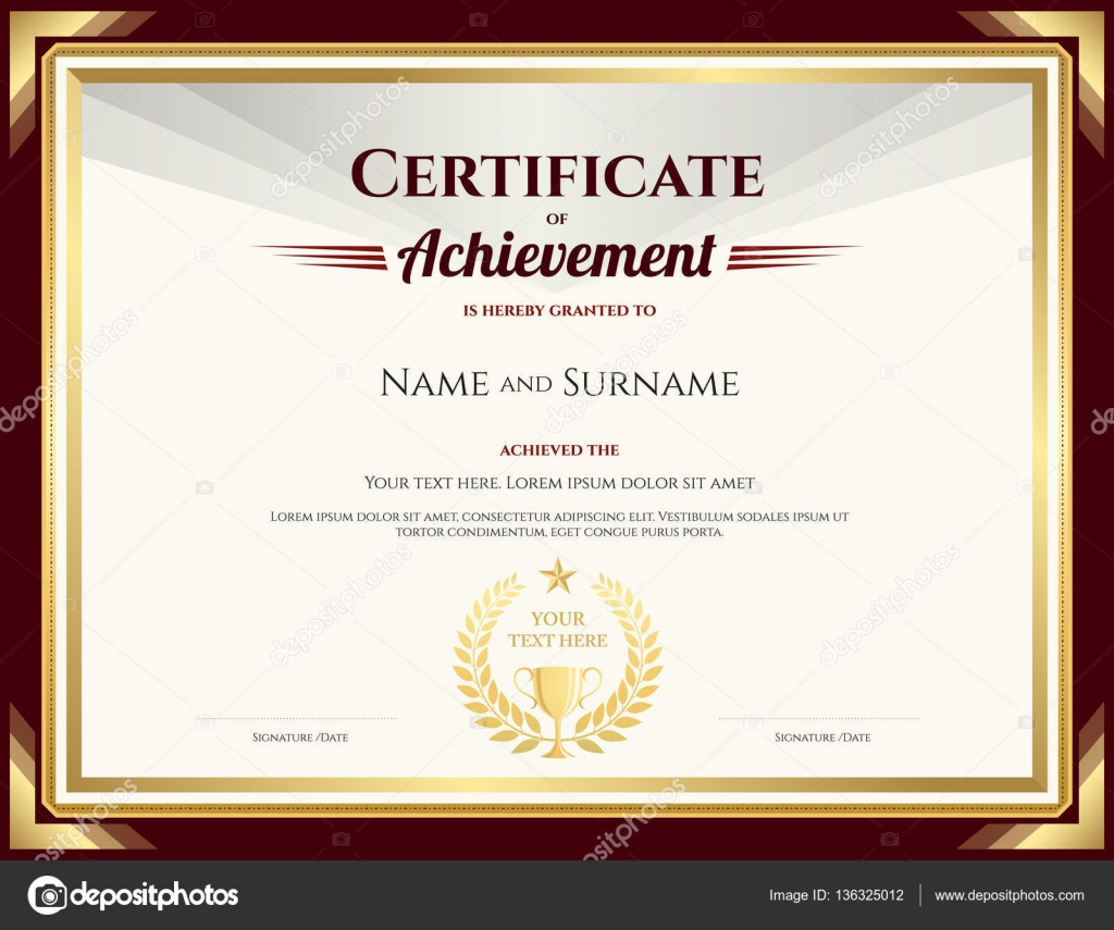 elegant certificate of achievement template with vintage brown border stock vector