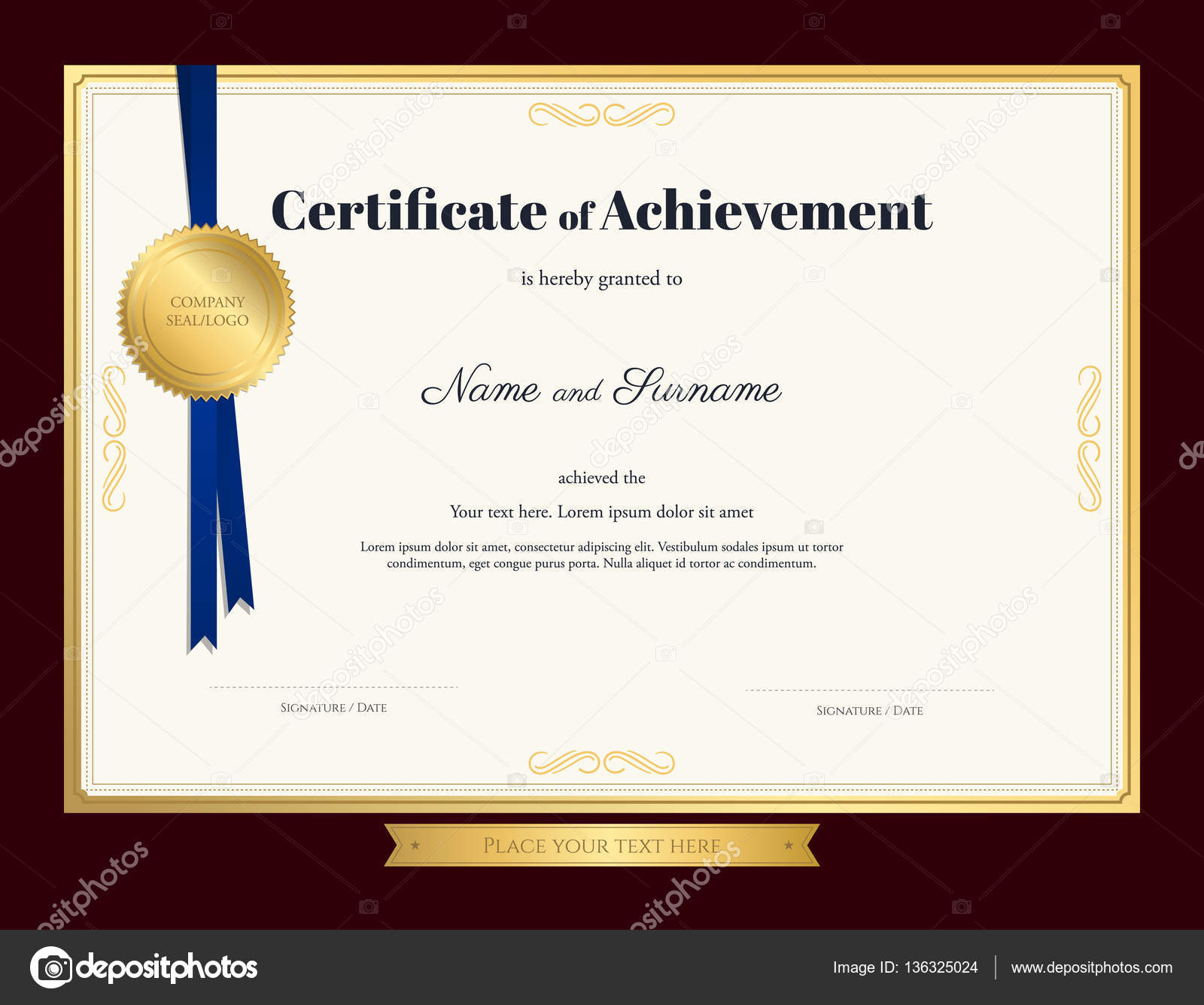 elegant certificate of achievement template with blue