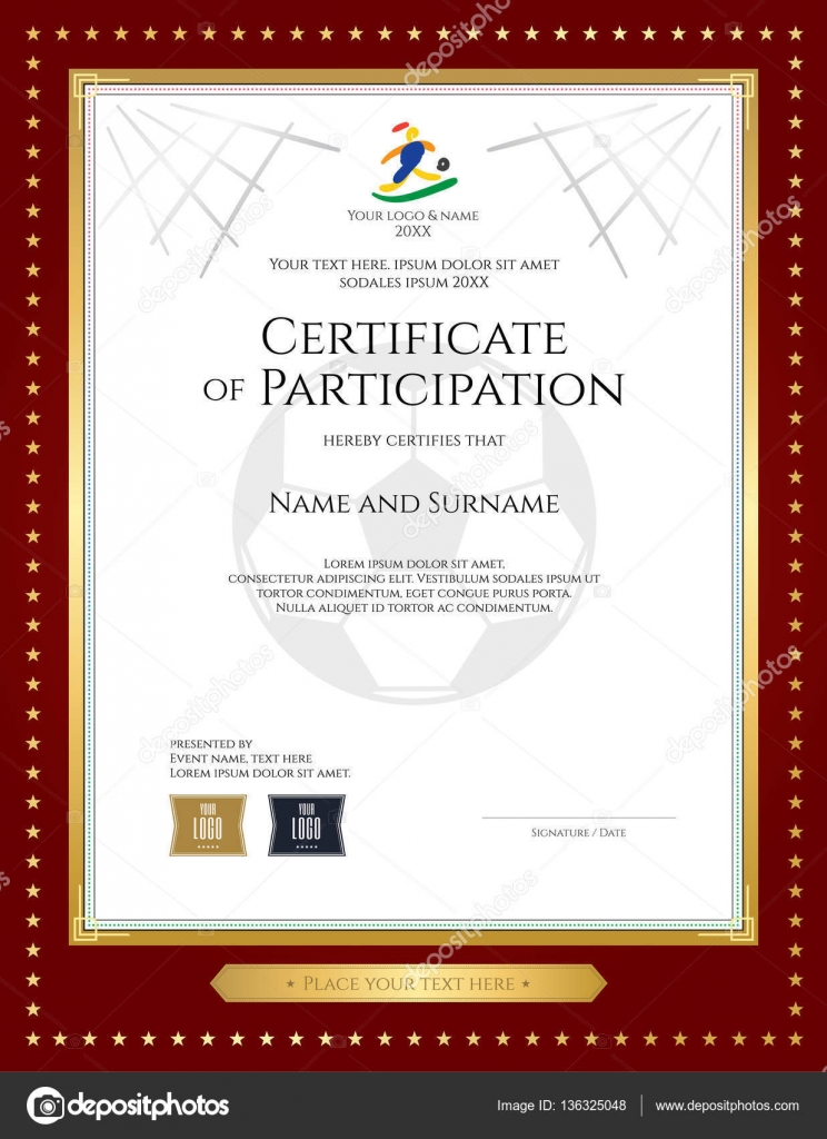 Sport Theme Certificate Of Participation Template For Football Match With  Gold Star Red Border U2014 Stock  Certificate Of Participation Template