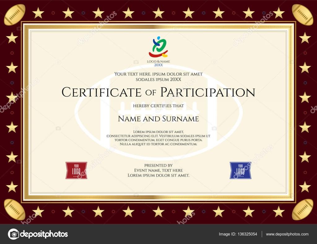 Sport Thema Zertifizierung von Teilnahme Vorlage für Sport oder ...