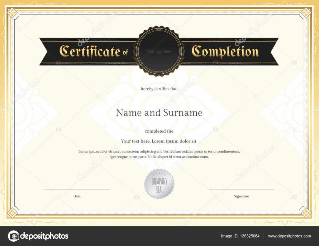 Certificate Of Completion Template With Applied Thai Art Background