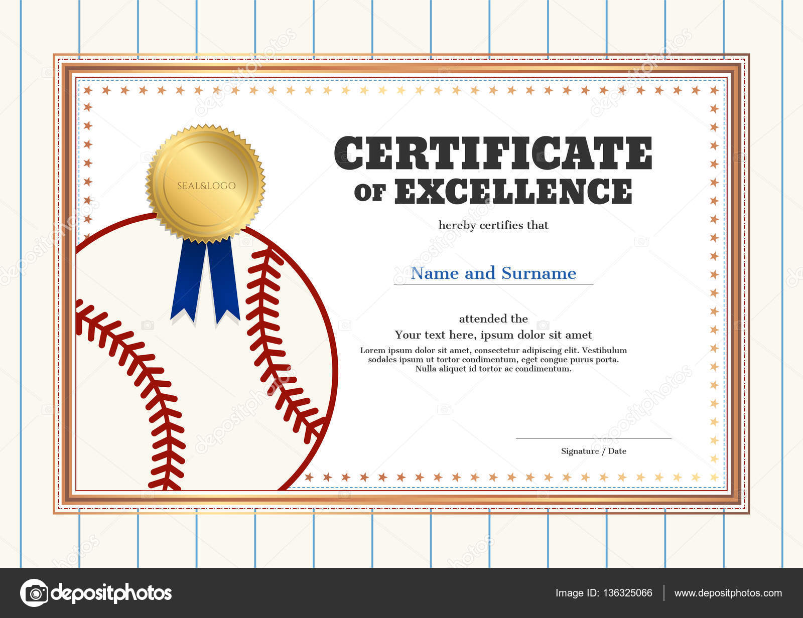 Baseball Template | Certificate Of Excellence Template In Sport Theme For Baseball Event