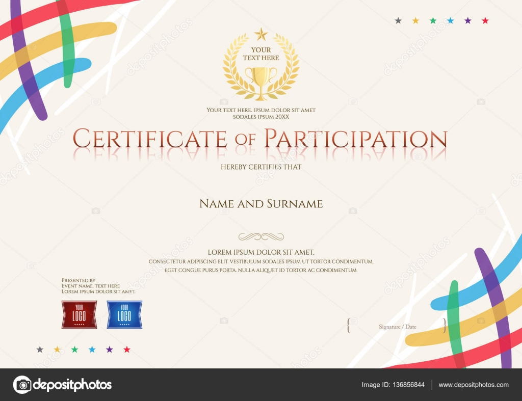 certificate of participation template with colorful corner and trophy stock vector