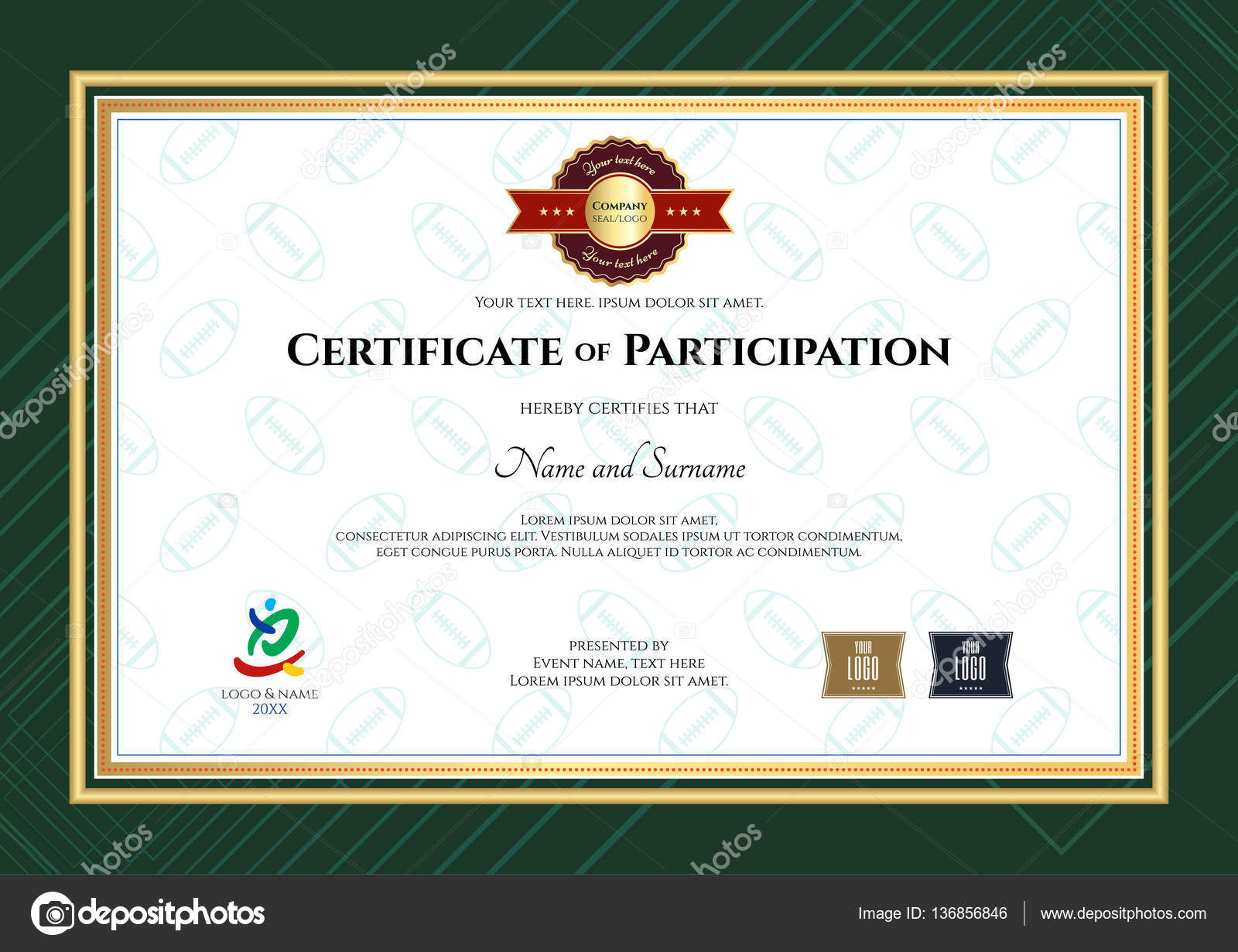 Certificate of participation template in sport theme with rugby