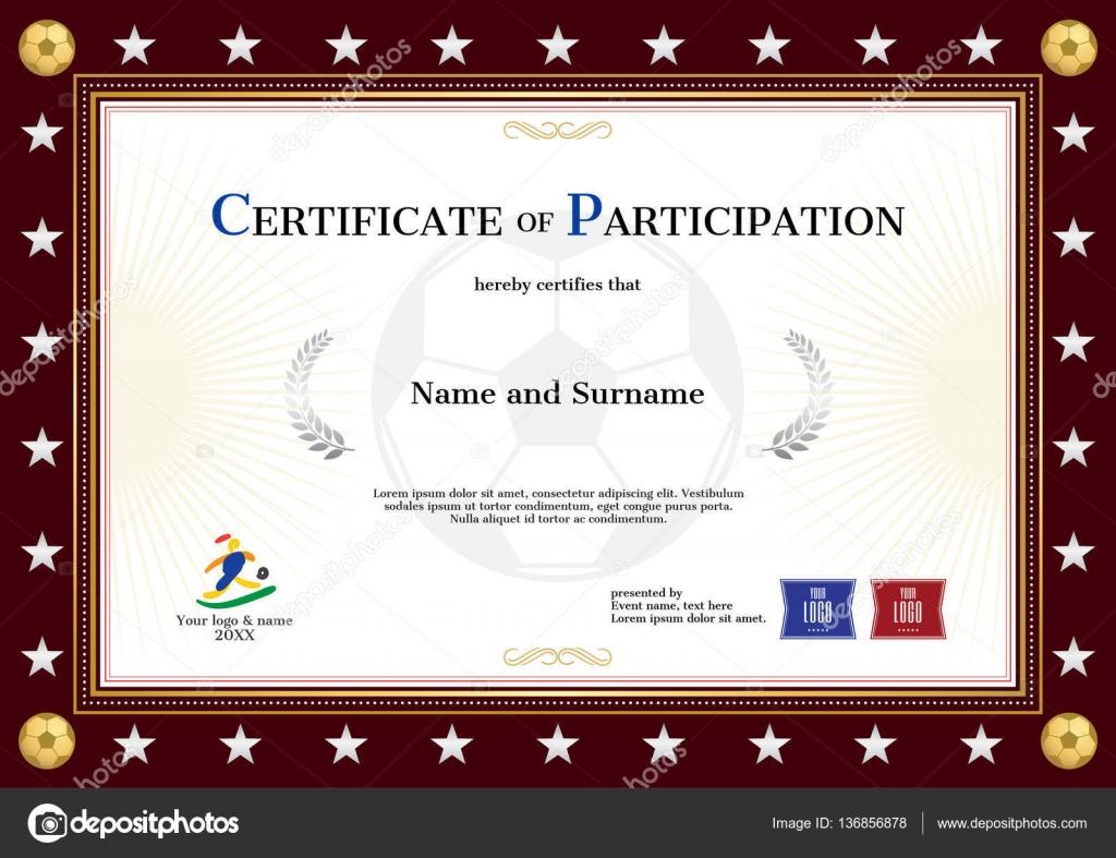 Bescheinigung über die Teilnahme Vorlage in Sport Design für Fußball ...