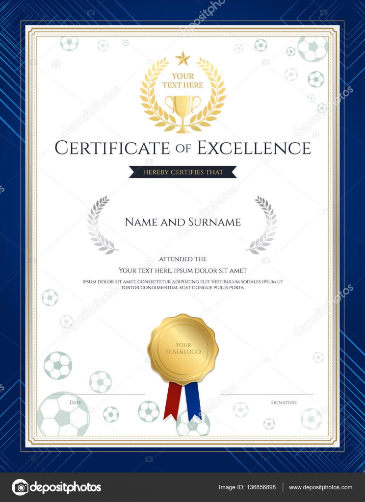 Portrait Certificate Of Excellence Template In Sport Theme For