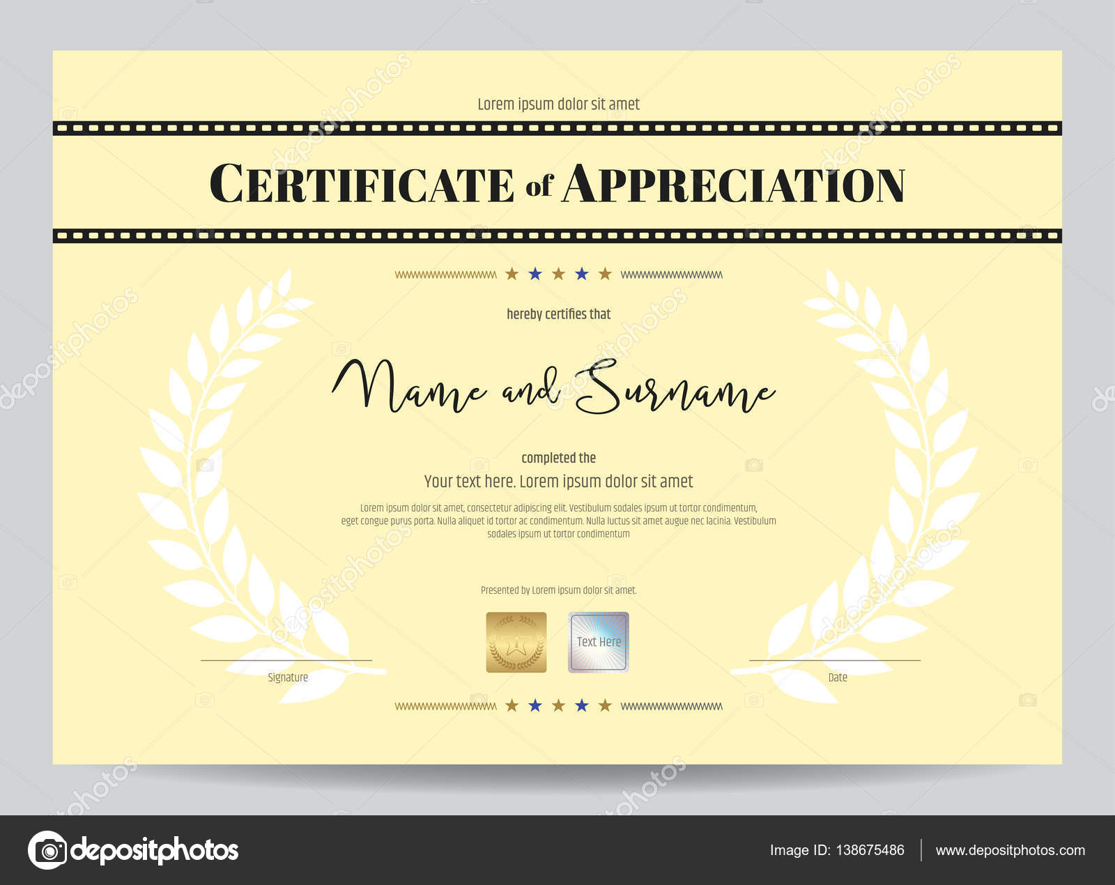 Bescheinigung über die Anerkennung Vorlage mit Film Film-Streifen ...