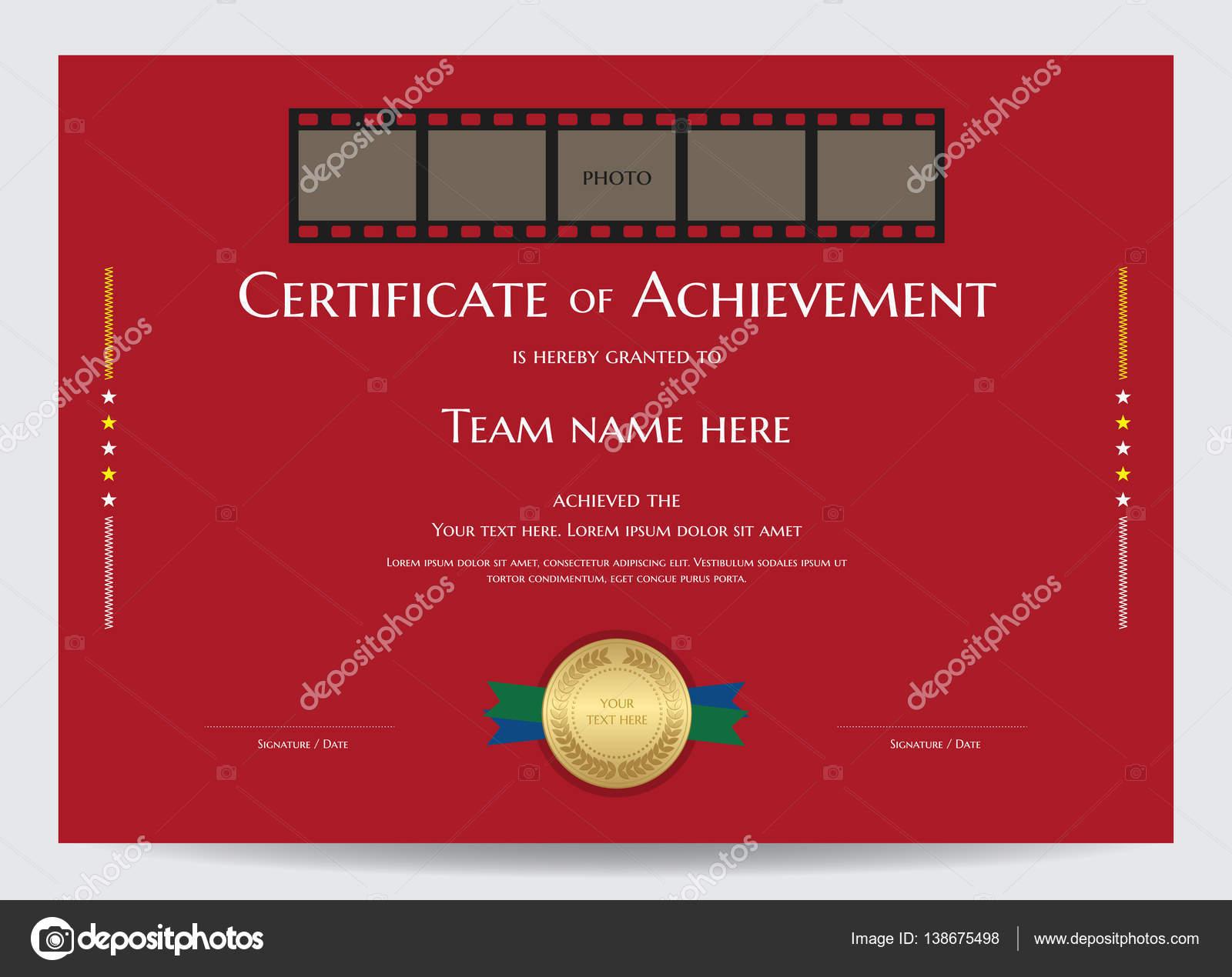 Bescheinigung über die Leistung Vorlage mit Foto-Raum im Film-Film ...