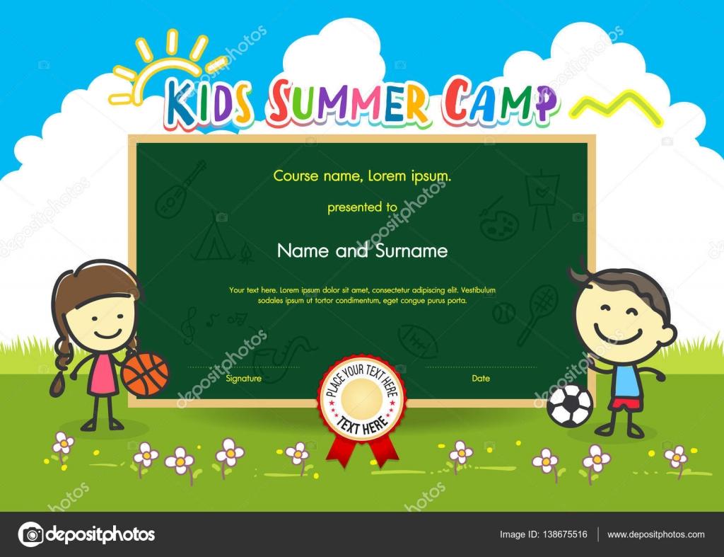 Bunte Kinder Sommer camp Diplom Zertifikat-Vorlage im Cartoon-Stil ...
