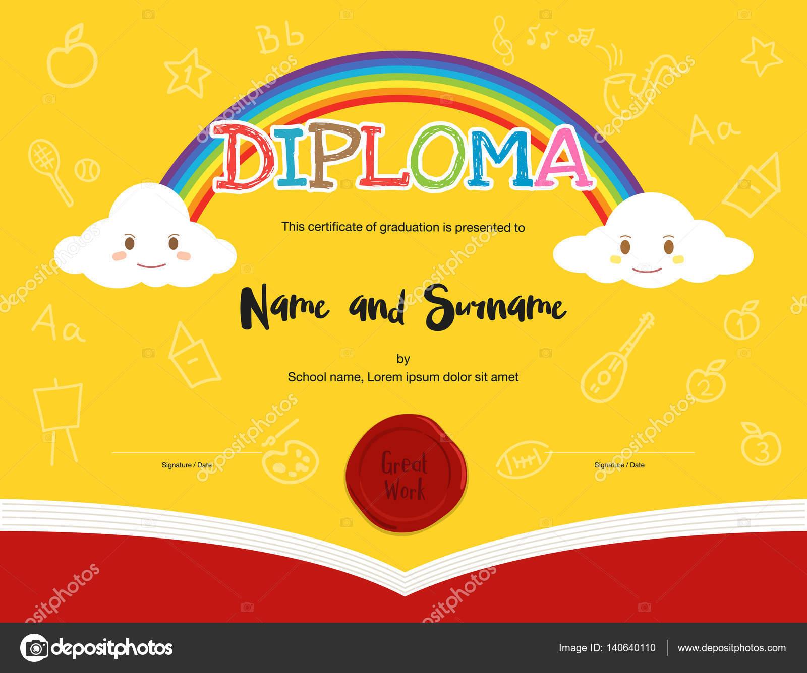 Bunte Kinder-Diplom-Zertifikat-Vorlage im Cartoon-Stil und ...