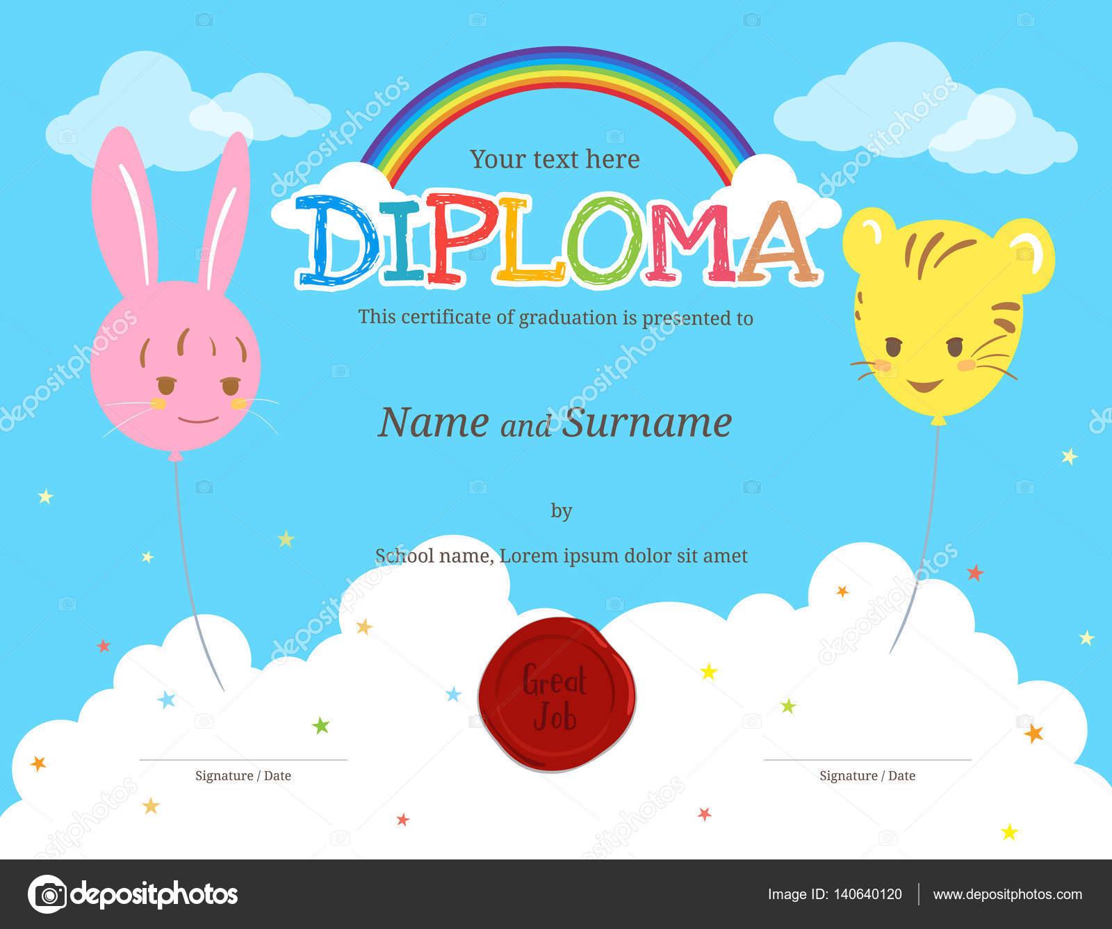 Bunte Kinder-Diplom-Zertifikat-Vorlage im Cartoon-Stil mit ...