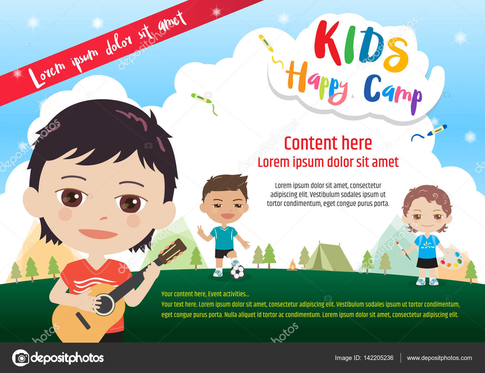 Colorful kids summer camp poster or banner template in cartoon style ...