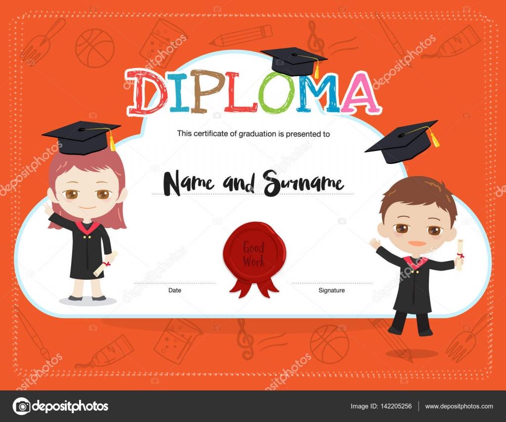 Bunte Kinder-Diplom-Zertifikat-Vorlage im Cartoon-Stil mit jungen ...
