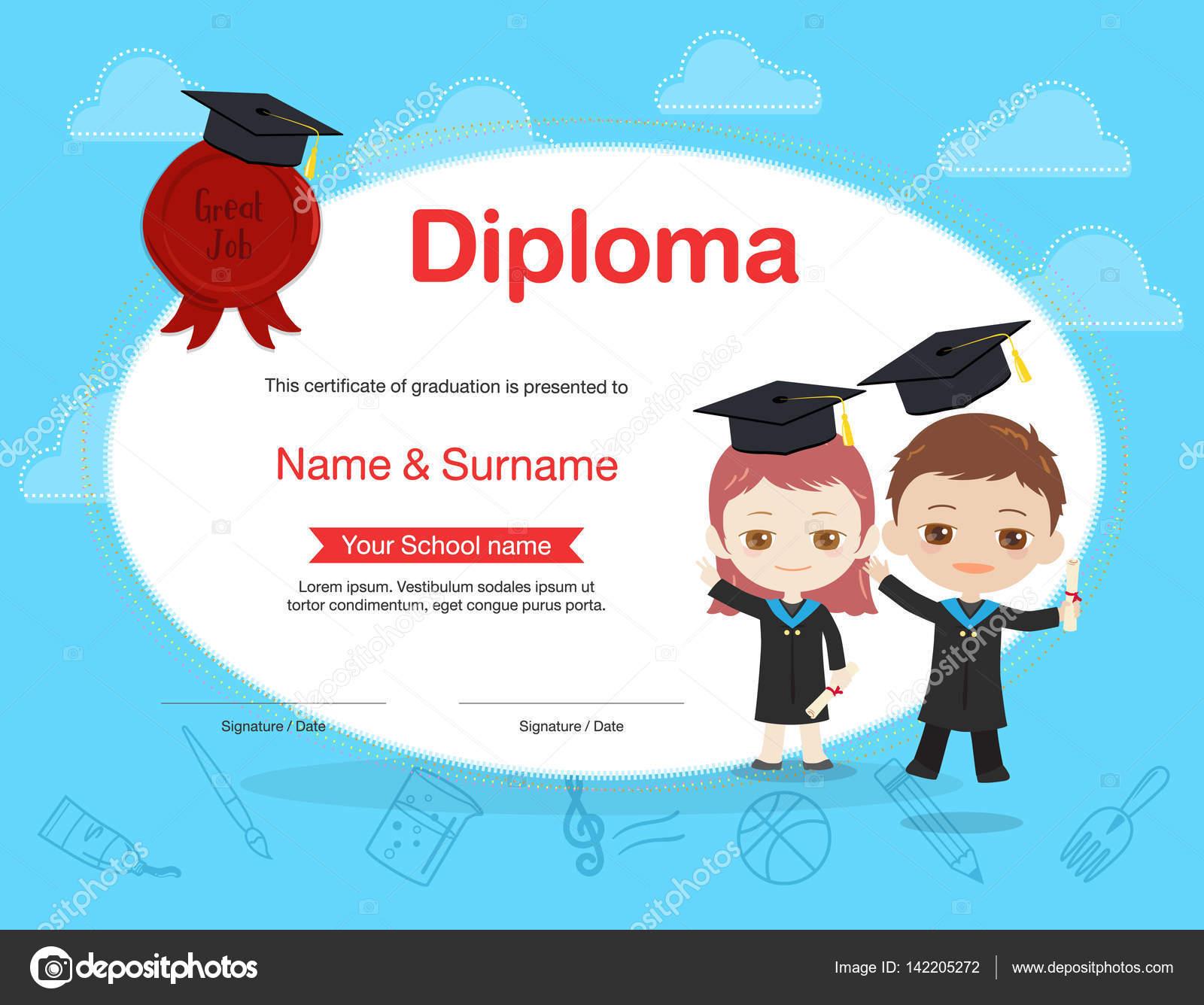 Plantilla de certificado de diploma de niños colores en estilo de ...