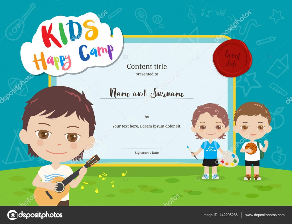 Colorful kids summer camp diploma certificate template in cartoon colorful kids summer camp diploma certificate template in cartoon style with various children activities music yadclub Choice Image