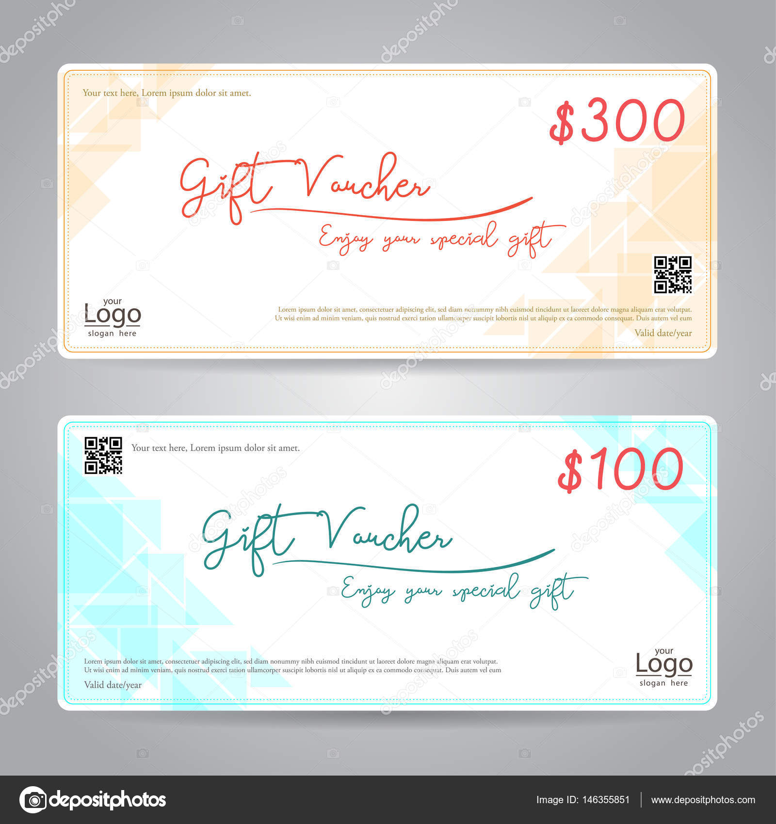 Elegant gift voucher or gift card or coupon template for discount or ...