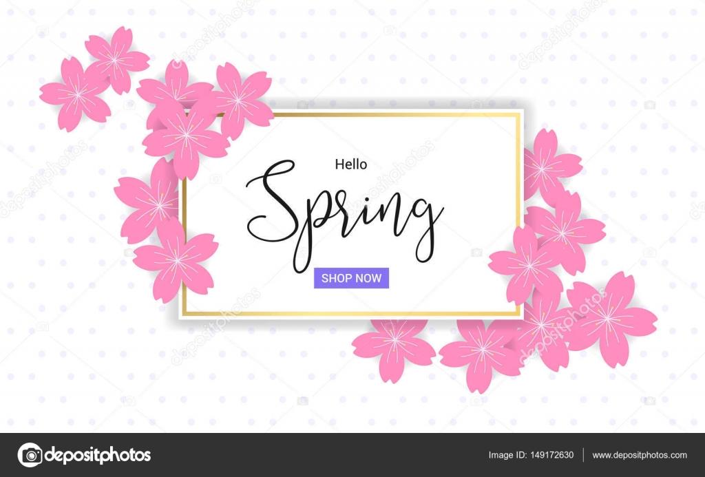 Flores de cerezo marco u Hola resorte frame diseño en vector ...