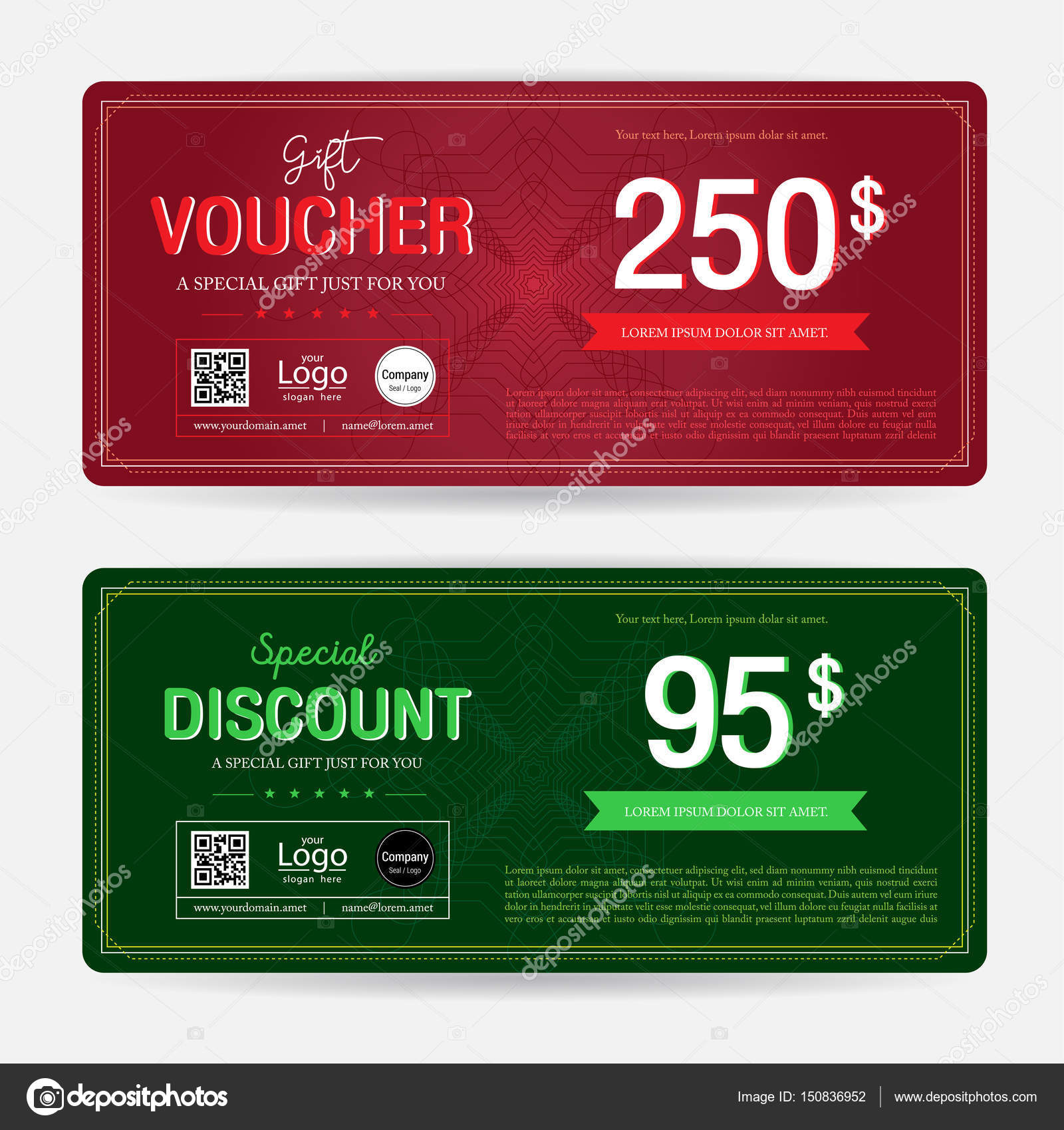 gift voucher or gift coupon template for award redemption promo on