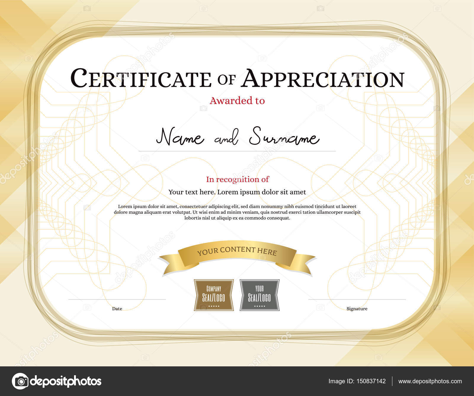 Certificate of appreciation template with award ribbon gold tone certificate of appreciation template with award ribbon gold tone border stock vector alramifo Gallery