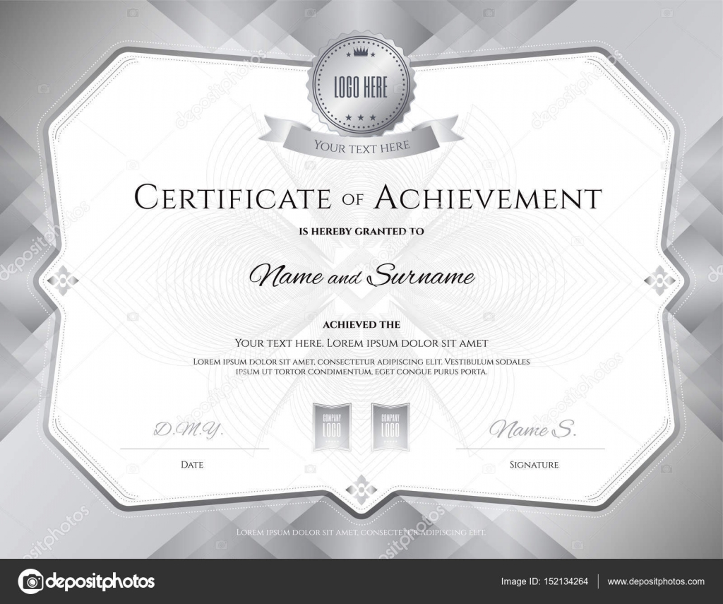 certificate of achievement template with award ribbon on abstract guilloche background with vintage border style