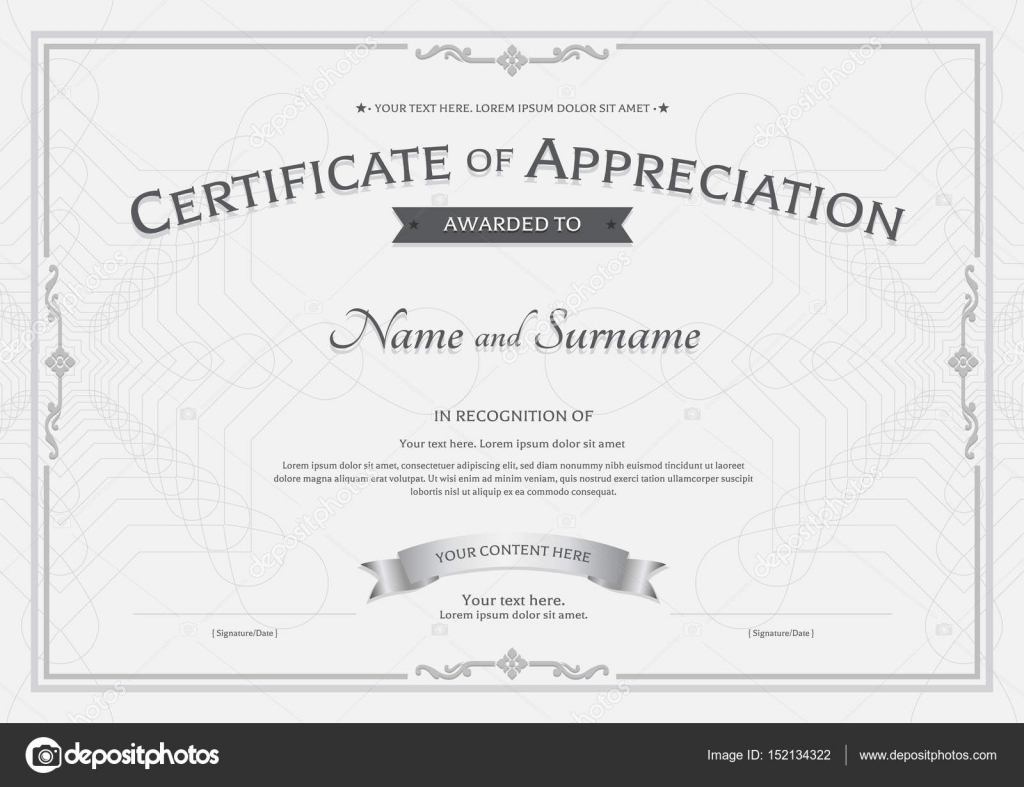 Certificate of appreciation template with award ribbon on abstract certificate of appreciation template with award ribbon on abstract guilloche background with vintage border style alramifo Image collections