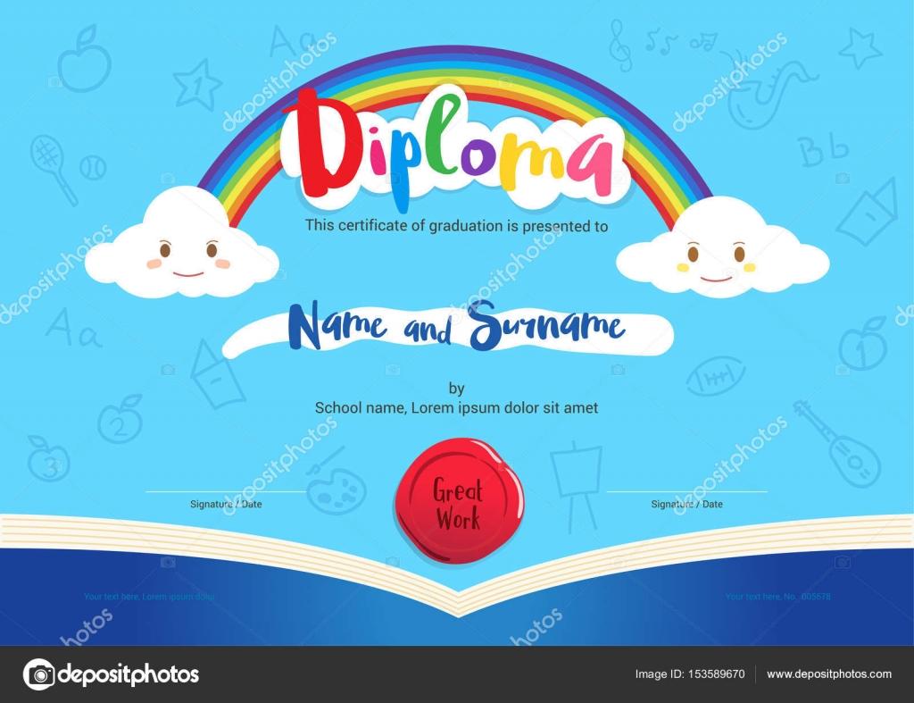 Los niños diploma o certificado con elementos de libro del arco iris ...