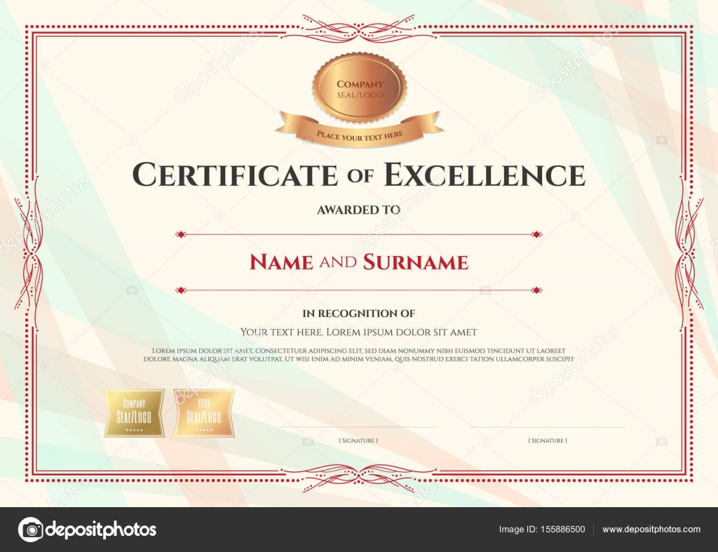 Certificate of excellence template on abstract ribbon background ...