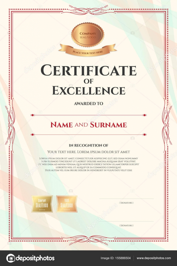 Portrait certificate of excellence template on abstract ribbon ...