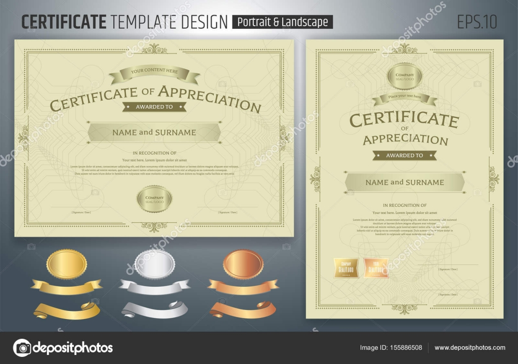 Set of certificate of appreciation template with award ribbon on set of certificate of appreciation template with award ribbon on abstract guilloche background with vintage border yadclub Image collections