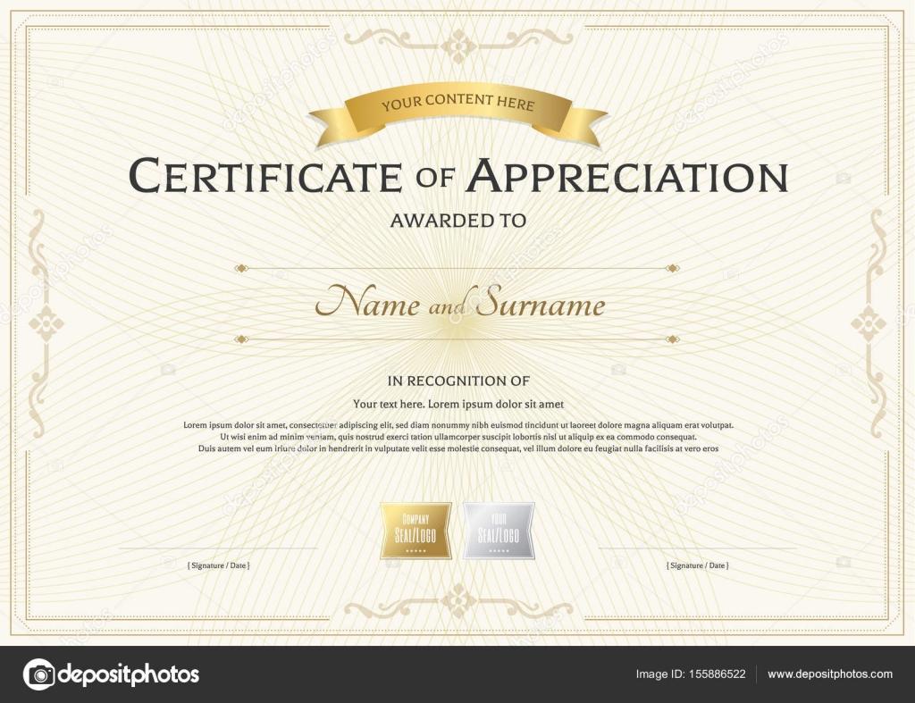 Certificado de plantilla de reconocimiento con la cinta de oro sobre ...