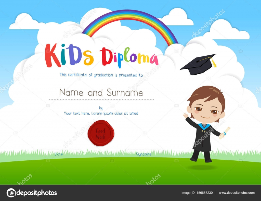 Colorful kids diploma certificate template in cartoon style with