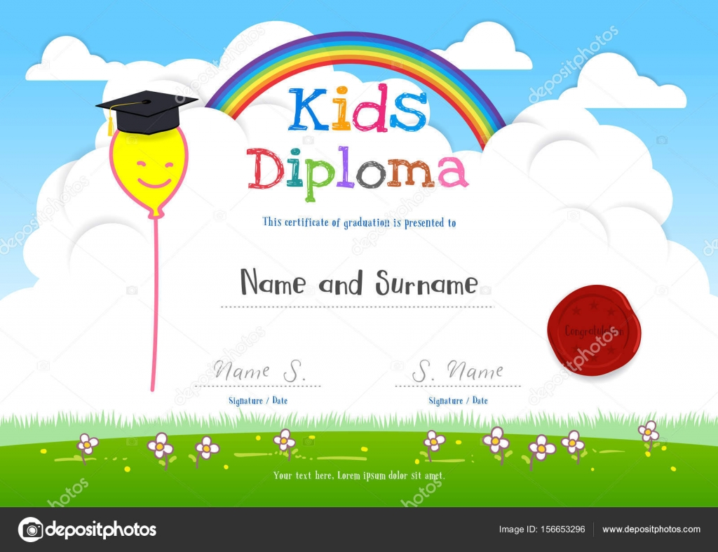 Colorful kids summer camp diploma certificate template in cartoon colorful kids summer camp diploma certificate template in cartoon style with smiling yellow balloon on rainbow yelopaper Image collections