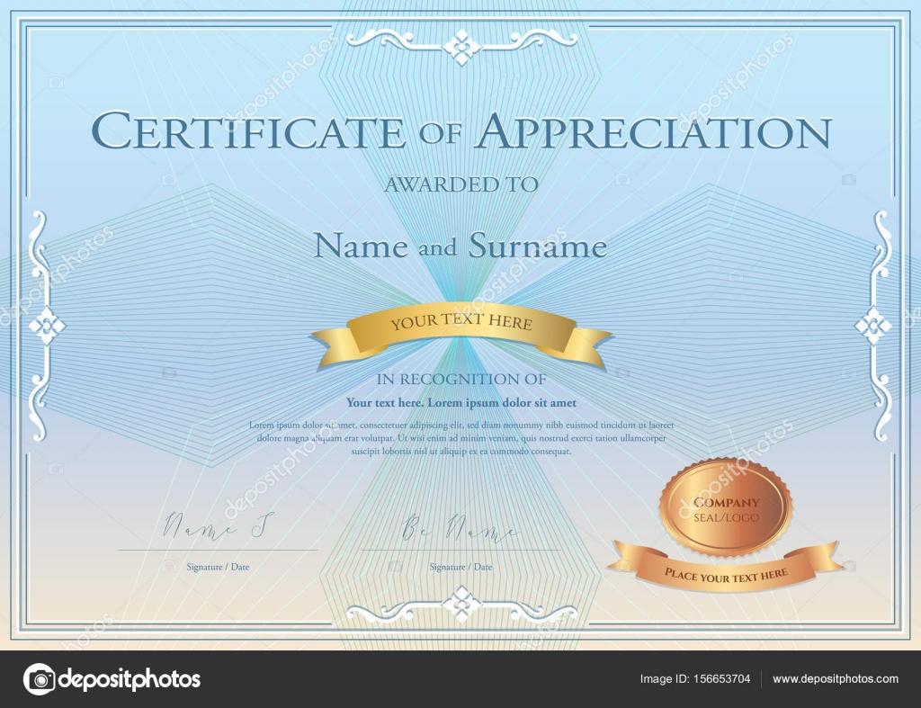 Bescheinigung über die Anerkennung Vorlage mit Auszeichnung Band auf ...