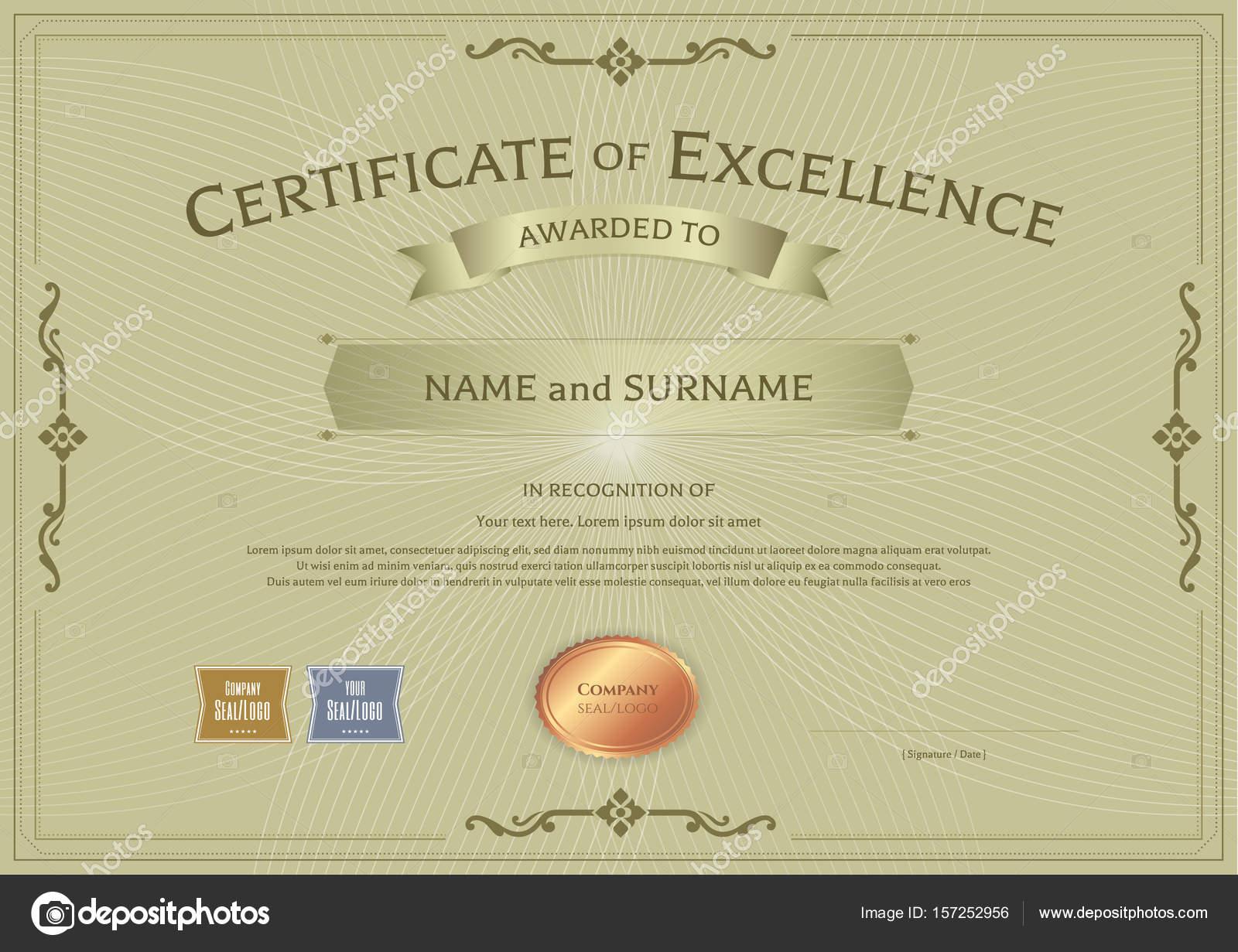 Zertifikat für Exzellenz Vorlage mit Auszeichnung Band auf abstrakte ...
