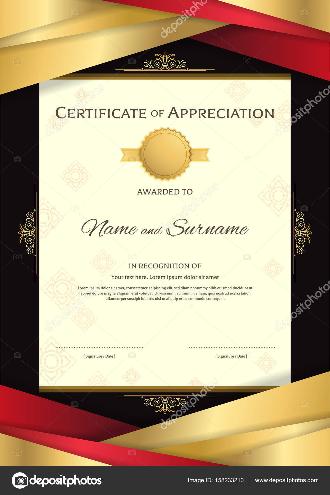Portrait luxury certificate template with elegant golden border portrait luxury certificate template with elegant red and golden border frame on thai background diploma design for graduation or completion vector by yelopaper Image collections