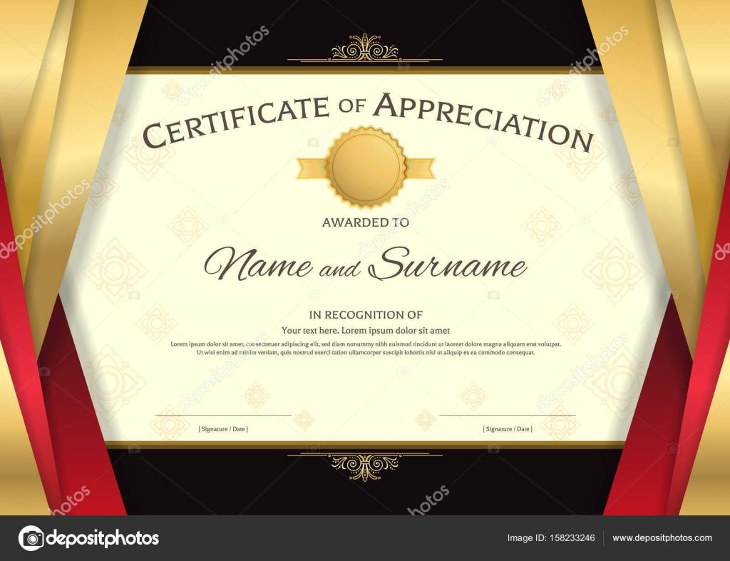 Luxus-Zertifikat-Vorlage mit eleganten roten und goldenen Grenze f ...