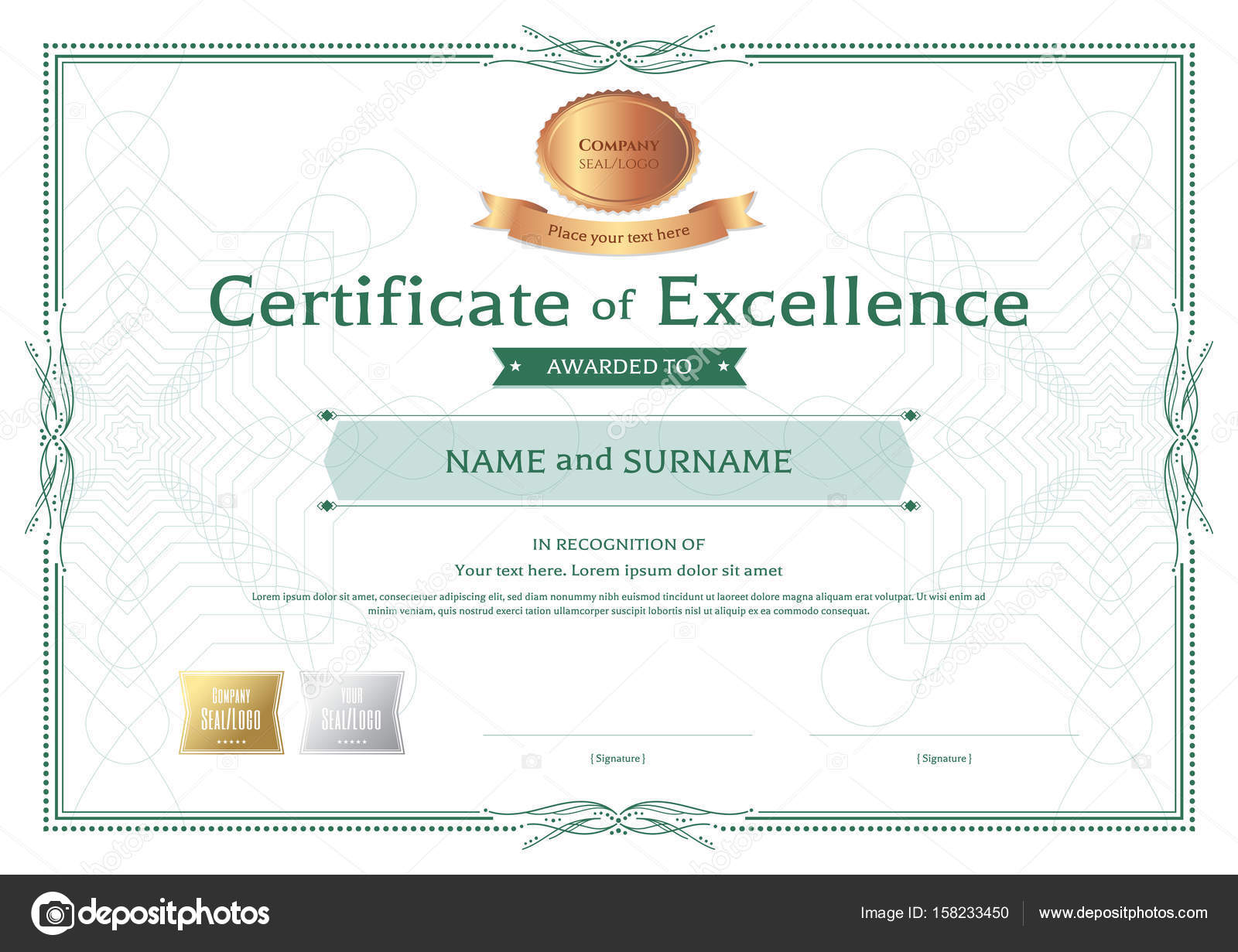 Certificate of excellence template with bronze award ribbon on a ...