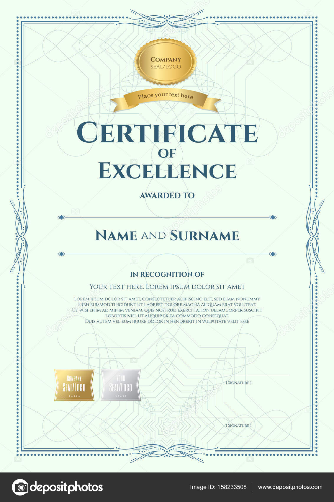 Portrait Certificate Of Excellence Template With Award Ribbon On U2014 Stock  Vector #158233508