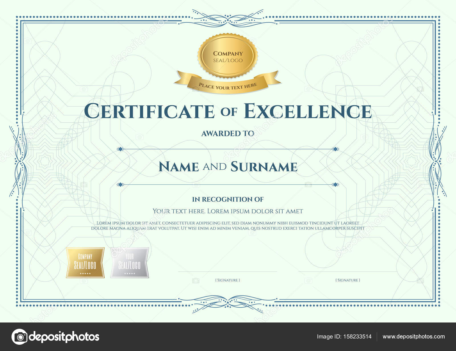 Certificate of appreciation template with gold award ribbon on a certificate of appreciation template with gold award ribbon on a stock vector yadclub Gallery