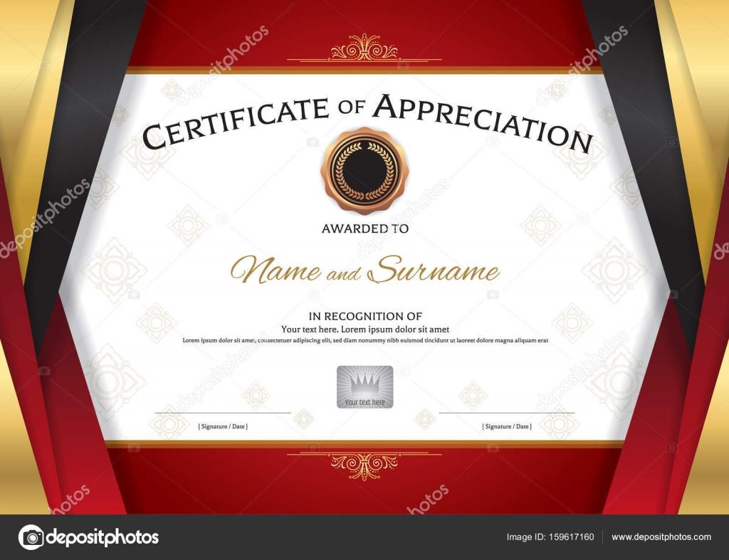 Plantilla de certificado de lujo con el borde rojo oro elegante ...