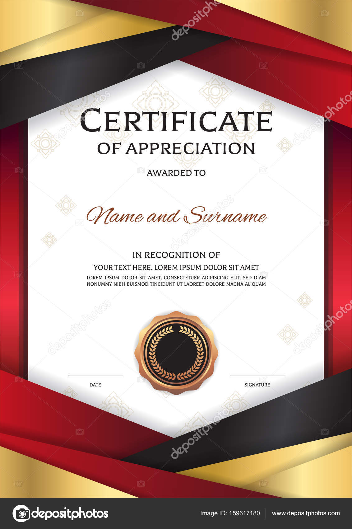 Portrait Luxury Certificate Template With Elegant Golden Red