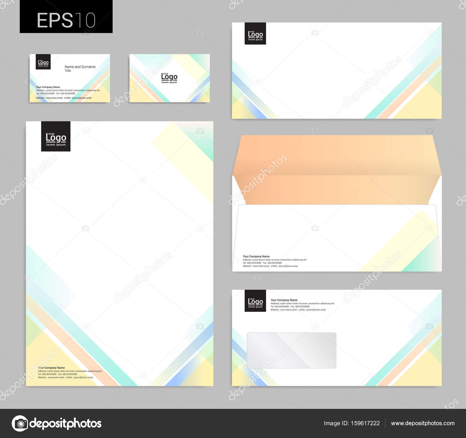 Modern stationery set in vector format, letterhead, business card ...