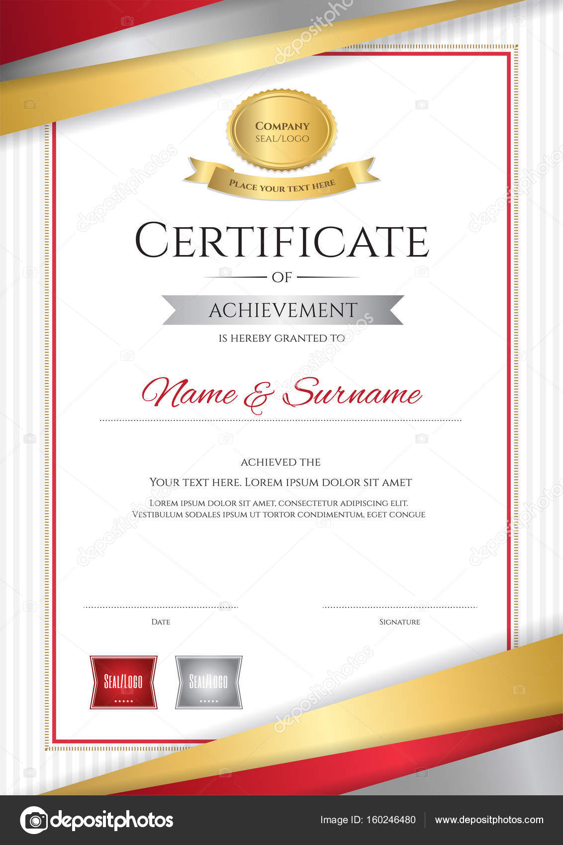Luxury certificate template with elegant golden border frame Di – Certificate Layout