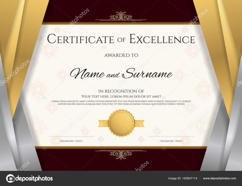 Luxus-Zertifikat-Vorlage mit eleganten silbernen und goldenen Rahmen ...