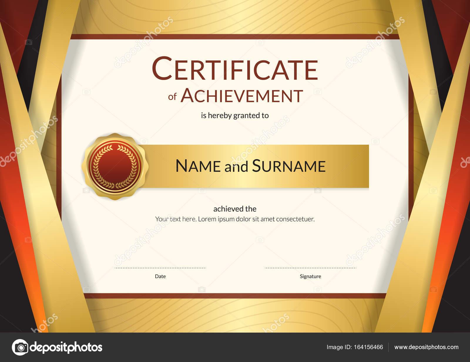 Plantilla de certificado de lujo con elegante borde oro marco ...