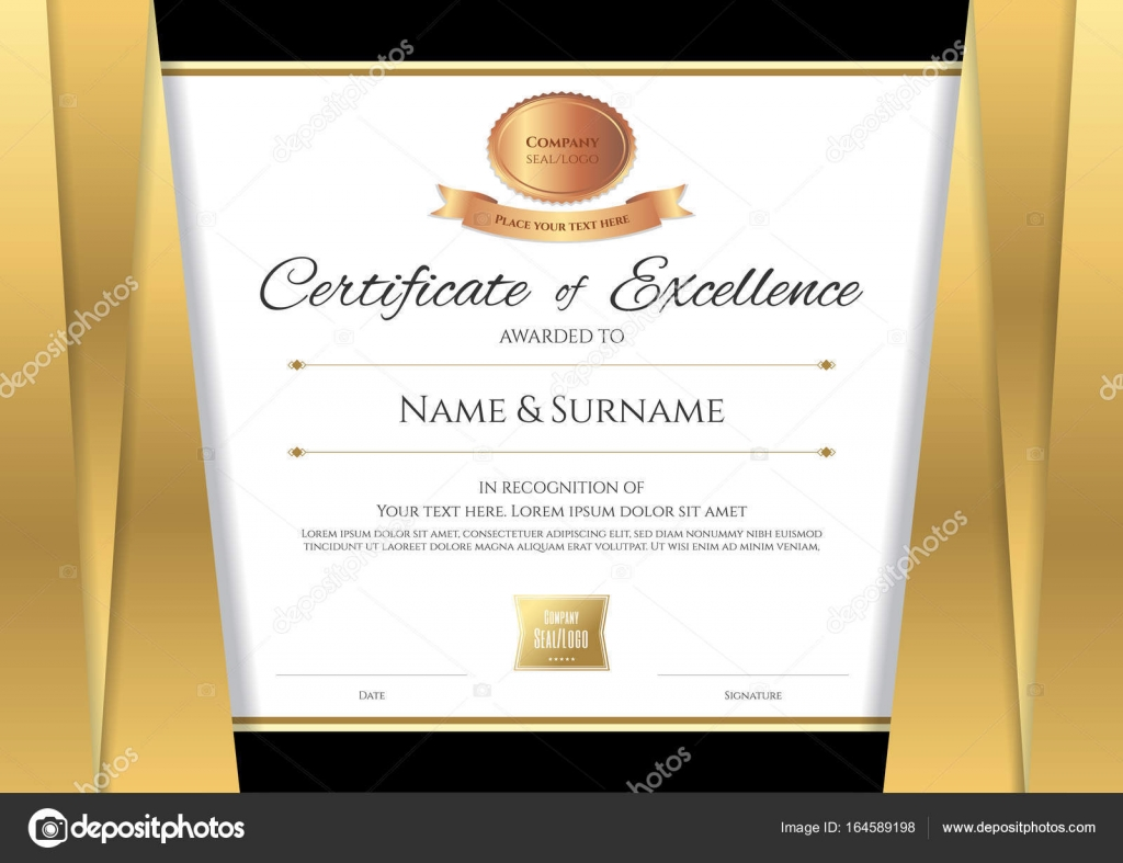 Luxus-Zertifikat-Vorlage mit eleganten goldenen Rahmen, Di ...