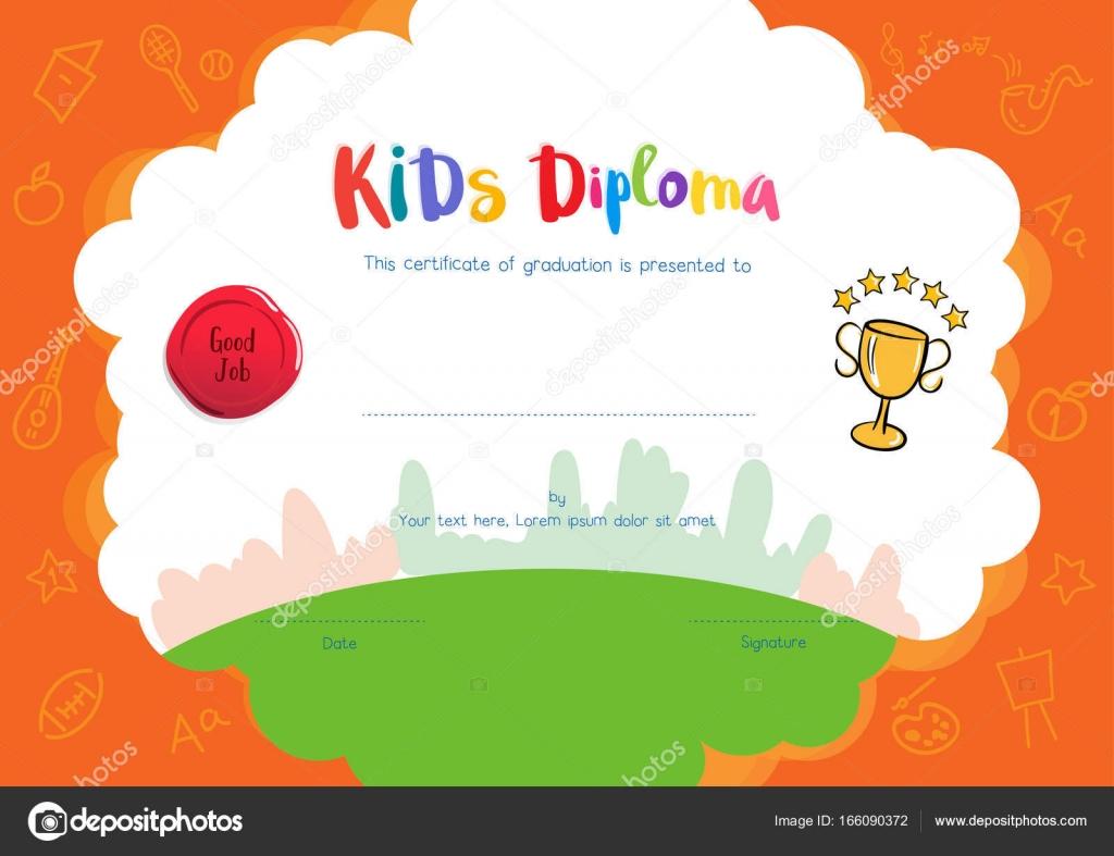 Kinder-Diplom oder Zertifikat-Vorlage mit Handzeichnung Cartoon s ...