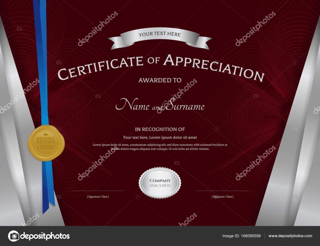 Luxus-Zertifikat-Vorlage mit eleganten silbernen Rahmen, Di ...