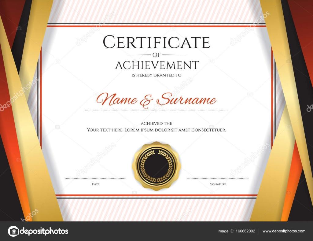 Luxus-Zertifikat-Vorlage mit eleganten goldenen Rahmen, Diplom ...